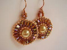 Golden Pearl Circular Brick Stitch Pierced Earrings | MyHeartBeads4U - Jewelry on ArtFire