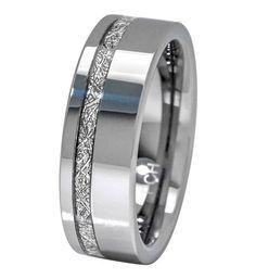 Meteorite Ring 8mm Comfort Fit Mens Tungsten Band Thin Strip High Polish