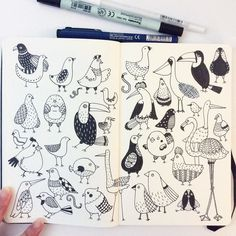 Day 9. Bird. I have phobia of birds. They are scary especially pigeons!! #CBDrawADay #creativebug #doodle #moleskineart #sketchbook by hee_cookingdiary