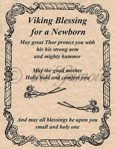 Viking Blessing for a Newborn, Book of Shadows Page, BOS Pages, Wiccan Spells