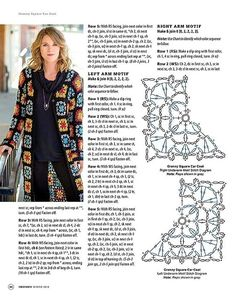 ideas for crochet dress diagram charts granny squares Diy Crochet Cardigan, Gilet Crochet, Crochet Coat, Crochet Jacket, Crochet Shawl, Crochet Clothes, Granny Square Häkelanleitung, Granny Square Crochet Pattern, Crochet Squares