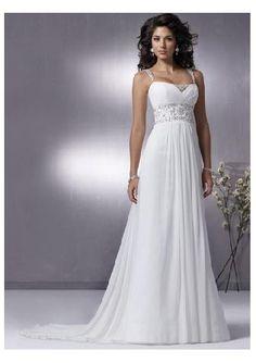 chiffon a line wedding dress...perfect for a beach wedding :)