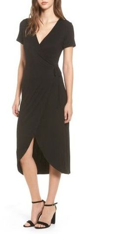 Main Image - One Clothing Knit Wrap Midi Dress Mid Length Dresses, Short Sleeve Dresses, Casual Dresses For Women, Clothes For Women, Perfect Little Black Dress, One Clothing, Knit Wrap, Nordstrom Dresses, Get Dressed