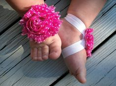 Baby Barefoot Sandals .. Pink Flowers .. by LovelyLiliesBoutique, $6.50