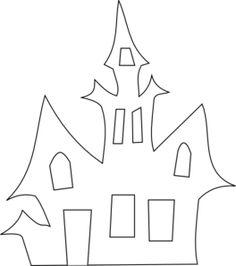 Scary House Silhouette clip art - vector clip art online, royalty free & public domain art for toddlers october Moldes Halloween, Casa Halloween, Halloween Templates, Manualidades Halloween, Adornos Halloween, Halloween Quilts, Halloween Haunted Houses, Halloween Crafts For Kids, Halloween Activities