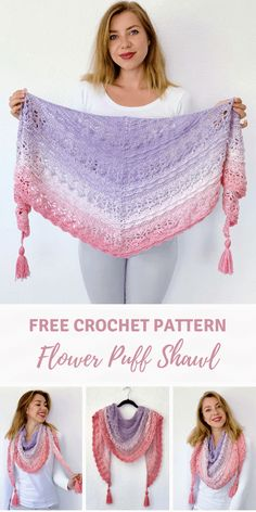 shawl tutorial: Flower Puff Shawl by Wilmade (FREE) Flower Puff Shawl - beautiful shawl with flowers and texture. Free pattern on , including video.Flower Puff Shawl - beautiful shawl with flowers and texture. Free pattern on , including video. Crochet Shawl Free, Crochet Shawls And Wraps, Crochet Scarves, Crochet Clothes, Crochet Stitches, Crochet Patterns, Crochet Shawl Diagram, Crochet Vests, Crochet Cape