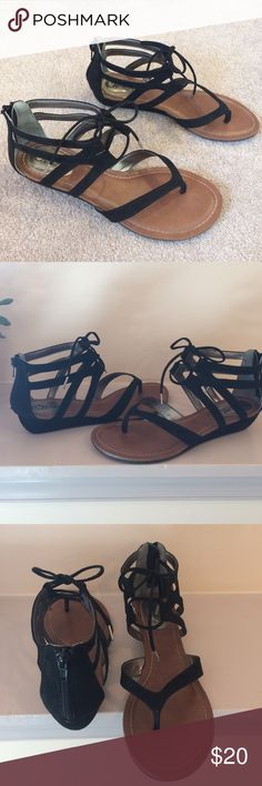 Carlos Santana Sandal Suede heeled sandal. Heel is about 1 inch. Nice feel and cute design. Only worn once - like new, excellent condition. Carlos Santana Shoes Sandals