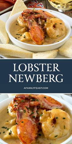 Lobster Newberg has chunks of tender lobster meat in a rich and decadent cognac-cream sauce, served with toast points. It's outstanding! chicken recipes dinners,cooking and recipes Lobster Dishes, Lobster Meat, Fish Dishes, Cooked Lobster, Lobster Tails, Seafood Recipes, Cooking Recipes, Healthy Recipes, Easy Lobster Recipes