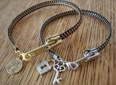 Take your old zip-up hoodies or busted up zippers and make a unique charm bracelet.