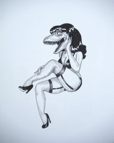 Hey, I found this really awesome Etsy listing at https://www.etsy.com/listing/223534622/velociraptor-pinup-pen-and-ink-drawing
