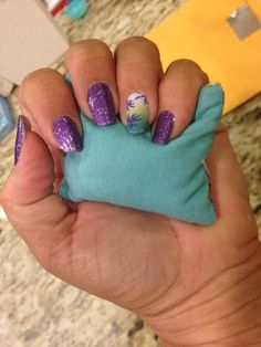 Jamberry at the beach!  Love this combo!  Lavender Sparkle and Emerald Palm  #jamberry #nails #palmtree BUY 3 get 1 FREE! Shop: www.lisayoung.jamberrynails.net Like me on FB! https://www.facebook.com/jamberrywithlisa?ref_type=bookmark