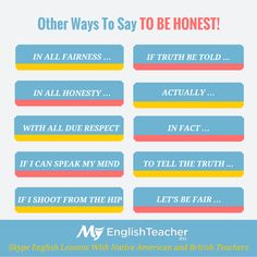 other ways to say to be honest