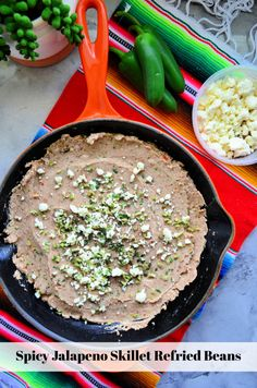 Spice up your next Mexican-themed dinner with my easy recipe for semi-homemade Spicy Jalapeno Skillet Refried Beans. Entree Recipes, Spicy Recipes, Side Dish Recipes, Potato Recipes, Slow Cooker Recipes, Mexican Food Recipes, Vegetarian Recipes, Yummy Recipes, Lentils