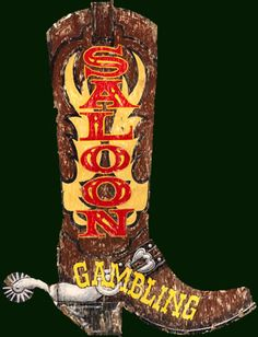 Rustic Western Saloon Signs - Boot-shaped Primitive Western Sign
