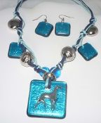 Artglass pendant necklace and matching pierced earrings