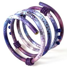 Purple Coil Bracelet by Sharon MacLeod, polymer clay.