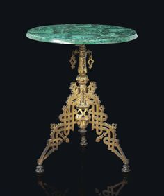 A RUSSIAN ORMOLU AND MALACHITE TEA TABLE -  ATTRIBUTED TO NIKOLAI STANGE, SECOND HALF 19TH CENTURY