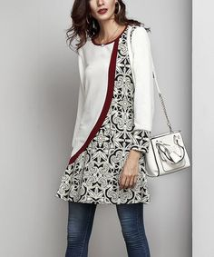 Look what I found on #zulily! White Contrast Tunic #zulilyfinds