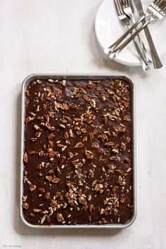 Pecan Chocolate Sheet Cake #valentinesday #countryliving