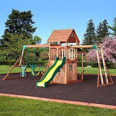 Swing Set Play Ground Sliding Board Outdoor Wood Playground Cedar   eBay  $875.00