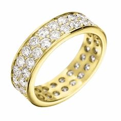 Grande Pave Diamond Band in Yellow Gold, 6 mm