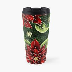 Stainless Steel Travel Mug, Green Christmas, Travel Mugs, My Coffee, Red Green, Art Prints, Printed, Awesome, Floral