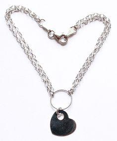 14K White Gold Italian Double Strand Chain Heart Charm Bracelet by paststore on Etsy