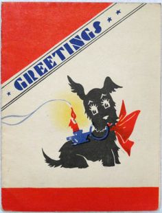 #652 20s Art Deco Scottie Dog Carries a Candle-Vintage Christmas Greeting Card