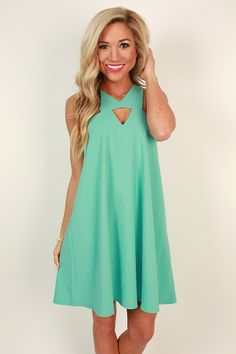Dallas Date Night Shift Dress in Ocean Wave. Love the neck detailing and color.