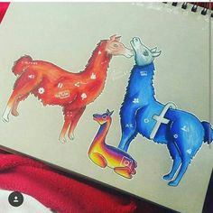 YouTube, Facebook & Instagram [as llamas] (Drawing by Unknown) #SocialMedia