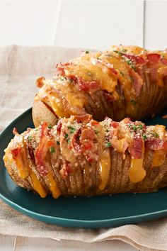 Cheesy Bacon Hasselback Potatoes – These spuds always look great on a plate. This cheesy version—made with OSCAR MAYER Bacon, cheddar cheese and fresh chives—is sure to be a new favorite. If you're looking to impress party guests, these Hasselback potatoes will do the trick.