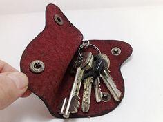 Handmade red patent MXS genuine leather Key Holder / case with crocodile effect sweet mini bag  ooak $16.92