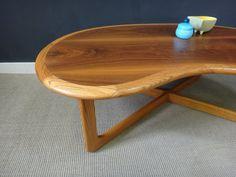 Mid Century Lane Kidney-Shaped Coffee Table by retrocraftdesign Modern Coffee Tables, Wood, Table, Wood Grain, Walnut Coffee Table, Oak Trim, Mid Century, Coffee Table, Light Oak