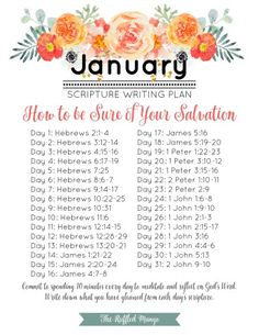 January Scripture Writing Plan: How to Be Sure of Your Salvation - Trend Shenanigans Quotes 2019 January Scripture Writing, Scripture Reading, Daily Scripture, Scripture Study, Bible Scriptures, Bible Quotes, New Year Bible Verse, Scripture Journal, Healing Scriptures