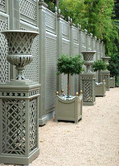 Decorative treillage and accessories for home and garden. Outdoor Spaces, Outdoor Living, Outdoor Decor, Garden Structures, Outdoor Structures, Petite Pergola, Deer Resistant Garden, Bamboo Garden, Home Accents