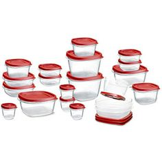 42 piece Easy Find Lid Food Storage Set by Rubbermaid. You get 21 boxes and 21 lids. Lids snap to the bottoms of the container bases and to each other. Containers nest for compact storage. Rubbermaid Food Storage, Food Storage Containers, Plastic Containers, Kitchen Containers, Container Organization, Storage Organization, Storage Sets, Lid Storage, Freezer Storage