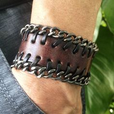 Antique Men's Brown Leather with Metal Chains Cuff Bracelet, Leather Wrist Band Wristband Handcrafted Jewelry on Wanelo