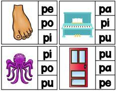 Rompecabezas de dos niveles - 1 silabas 2 - palabras completas  Fichas para la letra P con pa, pe, pi, po, pu