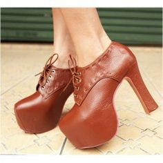 Retro and Stylish Style Simple Design High-Heeled Lacing Ankle Boots For Female