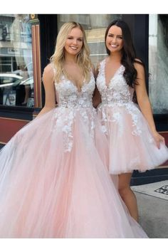 Pink v neck tulle lace long prom dress, tulle evening dress - Prom Dresses Design Quince Dresses, Hoco Dresses, Ball Dresses, Homecoming Dresses, Sexy Dresses, Graduation Dresses, Evening Dresses, Pink Dresses, Wedding Dresses