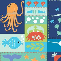 Sea Life Patchwork Organic Fabric from Monaluna's Under the Sea Collection