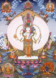 1000 armed Avalokitesvara ~ according to legend, he vowed to deliver all the people of Tibet from suffering - if not his body would shatter. Dispirited that so few had been helped, his head and body shattered. In agony he appealed to Amitabha who refashioned Avalokitesvara into the form depicted: the many arms and legs would enable him to assist more people.