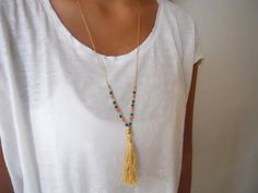 Long Tassel Necklace. Gold Chain and Beads by annikabella on Etsy, $30.00