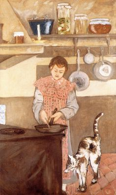 József Rippl-Rónai (Hungarian, 1861-1927) - Young Woman in the Kitchen with a Cat