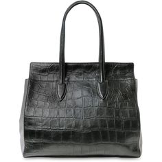 MAX MARA Croc Embossed Nappa & Suede Tote Bag (1 175 AUD) ❤ liked on Polyvore featuring bags, handbags, tote bags, croc tote, pencil pouch, crocodile tote bag, suede tote and crocodile tote