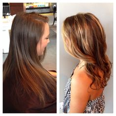 Balayage before and after, blonde highlights