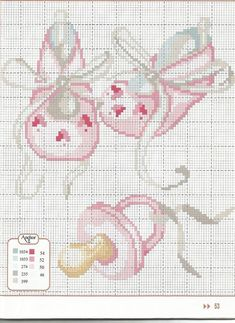 (JPEG Image, 736 × 1010 pixels) Pink Baby Booties and Pacifier Cross Stitch Pattern Baby Cross Stitch Patterns, Cross Stitch For Kids, Cross Stitch Baby, Cross Stitch Charts, Cross Stitch Designs, Cross Stitching, Cross Stitch Embroidery, Embroidery Patterns, Hand Embroidery