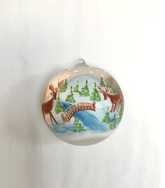 The perfect gift for the person who appreciates the beauty of a handcrafted treasure. Handpainted using a special multilayer technique, fine paints and accented with german glass glitter, these ornaments are certainly meant to keep bringing beauty to your Holidays year after year. This frosted Handpainted Christmas Ornaments, Hand Painted Ornaments, Handmade Christmas Gifts, Glass Ornaments, Christmas Tree Ornaments, Beautiful Christmas Trees, German Christmas, Winter Scenes, Christmas Balls