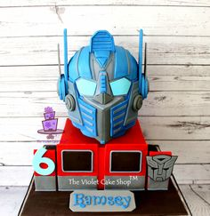 Transformers OPTIMUS PRIME 3D HELMET Cake - Cake by Violet - The Violet Cake Shop