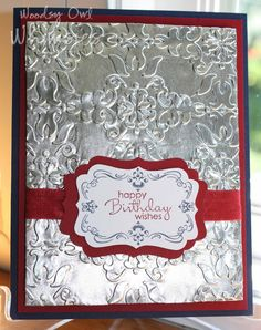 Woodsy Owl's Whimsical World: Embossed Aluminum Foil Card 1